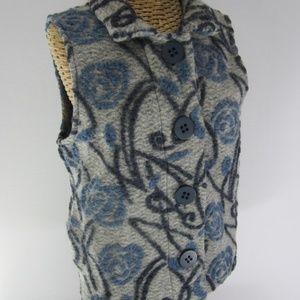 Habitat S / M Blue Gray Floral Felted Wool Vest